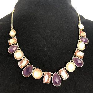 NINE WEST Pink & Purple Gem Necklace NWOT